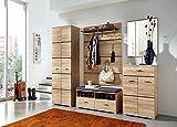 Garderobe in San Remo Eiche hell NB, bestehend aus: Garderobenschrank,Schuhschrank,Bank, Paneel und Spiegel, Gesamtmaße: B/H/T ca. 240/200/40 cm