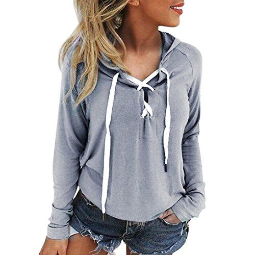 Internet Damen Lace Up Langarmshirt Kapuzenpulli Ernte Top Sport Pullover (S, grau) (T-shirt Grau Damen V-hals)