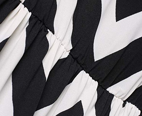 Damen Sommerkleider Maxikleid Welle Bedruckt Gestreift Rundhals Ausschnitt Ärmellos Lang Rock Beachwear Urlaub Strandkleid Cocktailkleid Elegant Schwarz