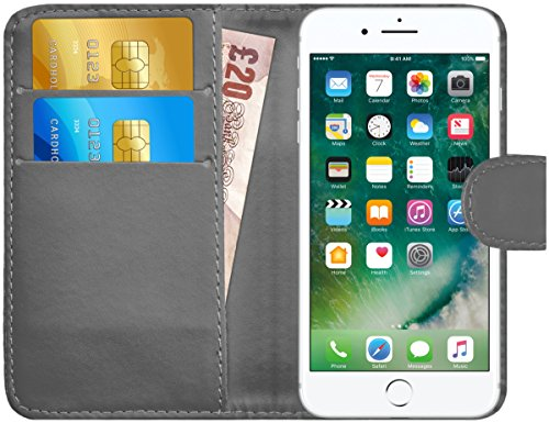 iPhone 7 Plus / iPhone 8 Plus Hülle Leder Klapphülle mit Kartenfach GizzmoHeaven Schutzhülle Tasche Flip Case Cover Etui Handyhülle für Apple iPhone 7 Plus / iPhone 8 Plus mit Displayschutzfolie und S Grau