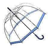 Regenschirm Transparent / Durchsichtig Glockenschirm Automatik blauer Rand