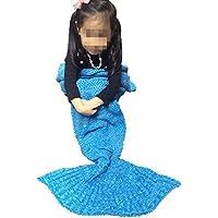 lana Mermaid coperta di pesce a maglia coda del climatizzatore regalo di compleanno divano (140 (Re Sacco A Pelo)