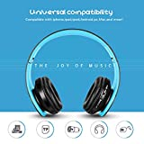 Zapig Wireless kids headphones with Microphone, Childrens Wireless Bluetooth Headphones, Foldable bluetooth Stereo over-Ear kids headsets-Blue