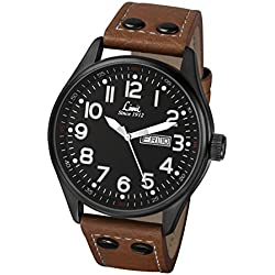 Limit Pilot Men's Quartz Watch with Black Dial Analogue Display and Brown PU Strap 5492.01