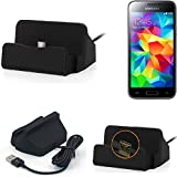 K-S-Trade Dockingstation für Samsung Galaxy S5 Mini Docking Station Micro USB Tisch Lade Dock Ladegerät Charger inkl. Kabel zum Laden und Synchronisieren, schwarz