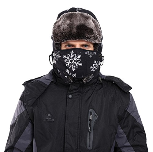 Jimall Men Winter Warm Outdoor Snowflake Russian Trapper Ski Hat