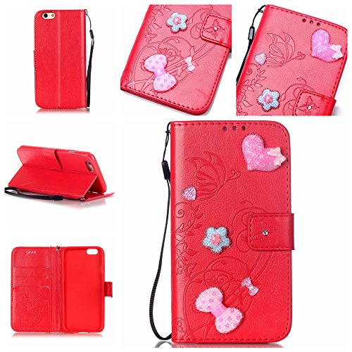 iPhone 7 Hülle,iPhone 7 Case,Cozy Hut ® Ultra Slim Flip Lederhülle / Ledertasche / Hülle / Case / Cover / Etui / Tasche für iPhone 7 / 3D Diamant Strass Bling Glitzer Schmetterlings-Blumen Muster, Pu  Rote