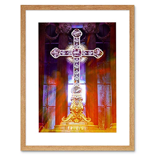 PSYCHEDELIC CHRISTIAN CROSS FRAMED PICTURE MOUNT POSTER ART PRINT F97X10058