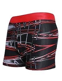Demarkt Caleçon De Bain Pour Hommes, Confortable De Bain Pour Hommes De Bain De Haute High-tech Qualité Boxers Slip Plage/Sport/Natation Costume Rayures RougesA XL+1PC