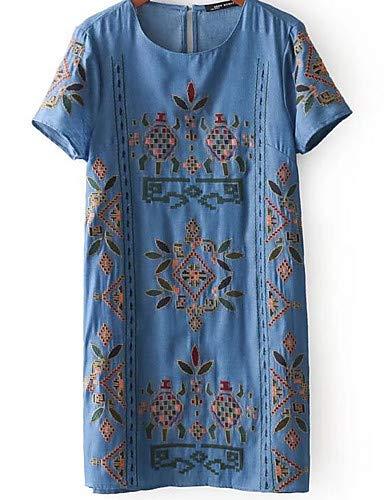 YFLTZ Basic Shift Dress für Damen - Geometrisch, Marineblau, L Damen Navy Blue Shift