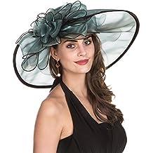 LUCKY Leaf Sombrero Encantador de la Iglesia de Organza de la Mujer Sombrero  Borde Ancho Floral 0f603aeaadd