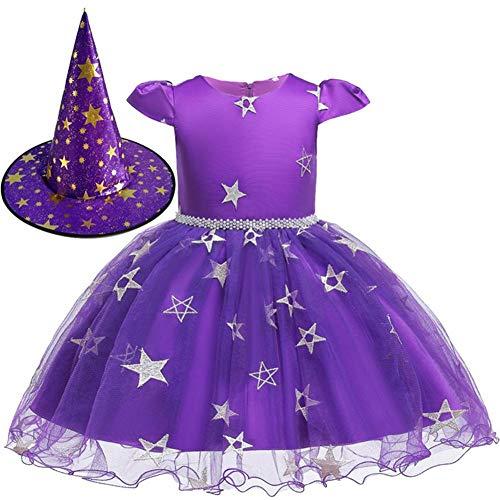 GUAN Halloween Kostüme Kinderkostüme Cosplay Mädchen Prinzessin Kleider Hexenröcke Hexenkostüme mit Mützen (Hexe Regenbogen Kostüm)