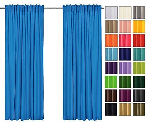 Sonnenschutz und Sichtschutz 2er Pack Vorhänge mit Tunnelband (Blau 41, 135x150 cm - BxH) Dekorative Blickdicht 2 Stücke Gardinen, Vorhang Schal für Schlafzimmer, Kinderzimmer, Wohnzimmer 40
