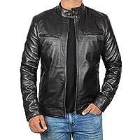 Decrum Mens Black Leather Jacket Men - Mens Leather Jacket | [1100124] Black Dodge, L