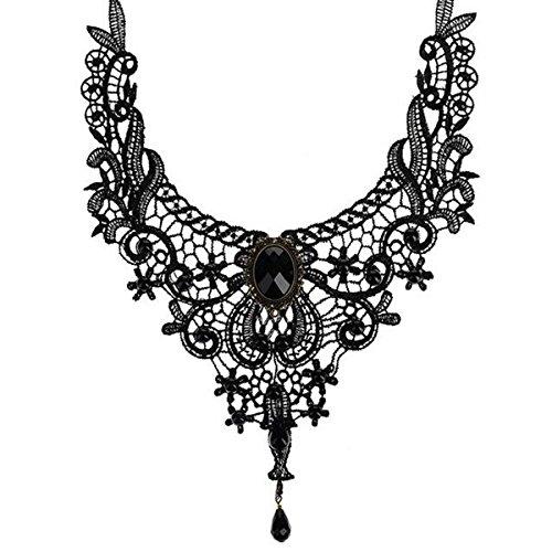 2ee4901c55ec Ouinne Joyería de Collar de Cristal Gargantilla de Encaje Borla Gótico del  Cordón Cadena para Fiesta