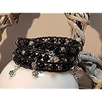 Wickelarmband schwarzer, glänzender Achat Bettelarmband, Charms, Lederband
