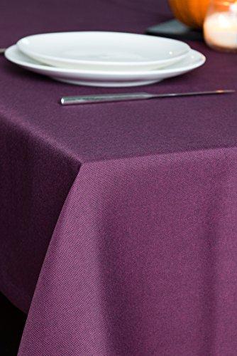 ROLLMAYER abwaschbar Tischdecke Wasserabweisend / Lotuseffekt (Melange Pflaume 215, 150x350cm) Leinenoptik Tischtuch mit pflegeleicht Fleckschutz, Rechteckig Quadratisch, Farbe & Größe wählbar