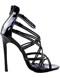 92d80a3367f0 Juleya Frauen Sommer Sandalen Damen Kätzchen High Heel Sandaletten Strappy  Bridal Zip Ankle High Heels Offene