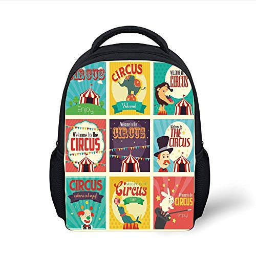 Kids School Backpack Circus Decor,Collection of Old Circus Icons Carnival Magicians Old Fashioned Nostalgic Festive Artsy Print,Multi Plain Bookbag Travel Daypack -