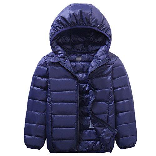 LvRao Kinder Langarm Steppjacke Gesteppt Ultra Leicht Verpackbar Daunen Mantel Lässig Hoodies Daunenjacke (Marine, 140cm)