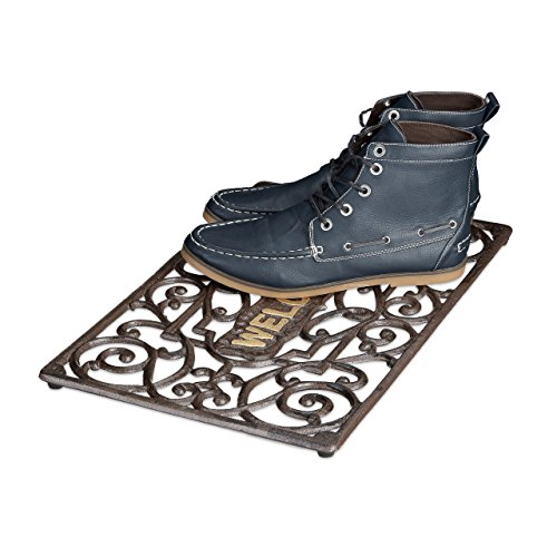 Relaxdays Fußabtreter Gusseisen rechteckig HBT ca. 2 x 52 x 32,5 cm Fußabstreifer im Jugendstil Schuhabstreifer passend zum Landhausstil aus pulverbeschichtetem Metall mit Anti-Rutsch-Füßen, bronze (Eisen Fuß)