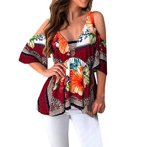 Mode Sommer Damen Kurze Ärmel V-Ausschnitt Folk Custom T-Shirt Vintage Elegant Bluse Casual Retro...