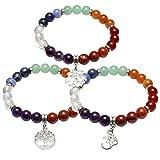 JOVIVI 3x 7 Chakras Buddha-Armband Reiki-Therapie Yoga-Armband Baum des Lebens OM Symbol Lotus Balance Stein-Armband
