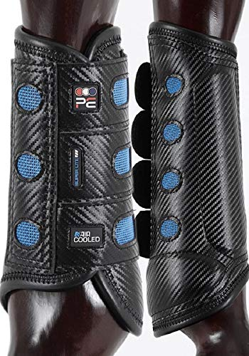 Premier Equine Air Cooled Super Lite Carbon Tech Eventing Gelände-Gamaschen 4er-Set (L, Black)
