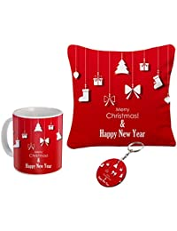 Happy New Year Wishes Combo Gifts Coffee Mug Cushion And Key Chain Best Combo Gift For Girlfriend||Gift For Wife...