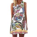 SEWORLD 2018 Damen Mode Frauen Lose Sommer Vintage Beiläufig ärmellose 3D O-Ausschnitt Blumen Drucken Bohe Tank Kurze Datierung Mini Dress(A-f-Weiß,M)