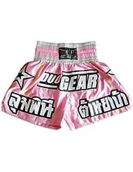 Duo Gear Boys 'estrellas Muay Thai y Kickboxing boxeo pantalones cortos, Niños, color rosa, tamaño mediano