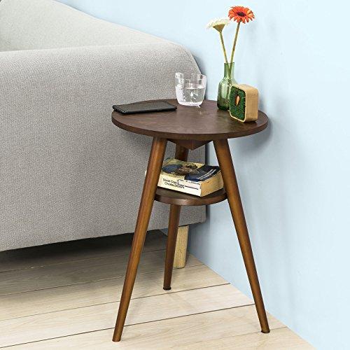 SoBuy FBT58-BR Table d'Appoint Table Basse Table Café Ronde -2 Plateaux - 3 Pieds