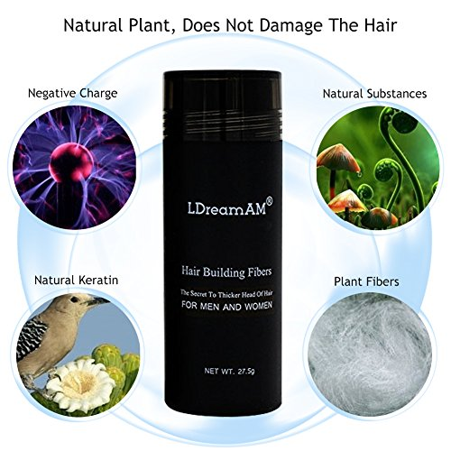 Hair Fibers,Hair Building Fibers,Hair Loss Concealer,Keratin Hair Building Fiber for Thickening of Thinning or Balding Hair - Instant Hair Loss Treatment for Men & Women,Black 27.5g