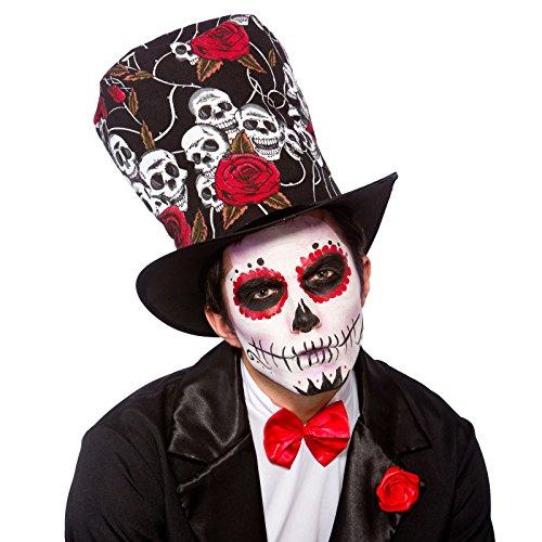 d Top Hat Fancy Dress Party Accessory Skull Voodoo Halloween (Black Tie Halloween-kostüm Ideen)