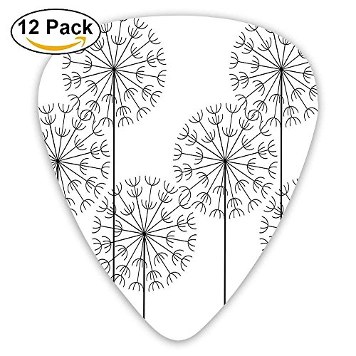 Modern Hand Drawn Digital Flower Dandelions Botanic Plants Guitar Picks 12/Pack Set