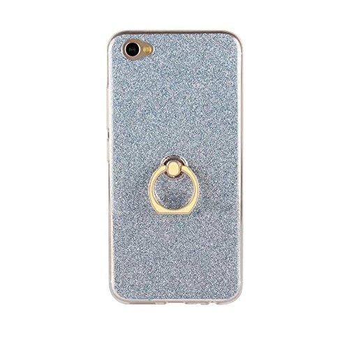 Soft Flexible TPU Back Cover Case Shockproof Schutzhülle mit Bling Glitter Sparkles und Kickstand für VIVO X9s Plus ( Color : Black ) Blue