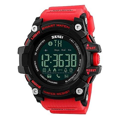 Farsler Smart Bluetooth 4.0multifonction pour homme 50m étanche podomètre montre les calories suivi de prise de vue à distance d'alarme Horloge électronique de sports de plein air Neutre montre numérique (Rouge)
