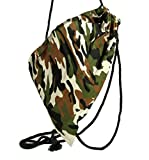 if she Stoff-Beutel Rucksack Turnbeutel Sport-Beutel Army Military Armee Look in Camouflage Tarnfarben zwei Farbdesigns erhältlich, Farbe:Braun, Größe:one size