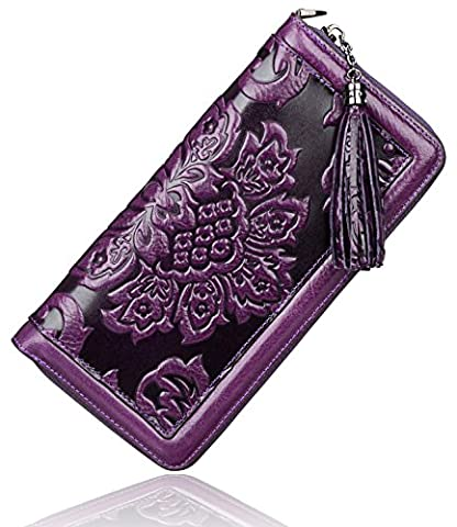 PIJUSHI Women's Genuine Leather Organizer Wallet Large Zipper Purse U91853 (violet)