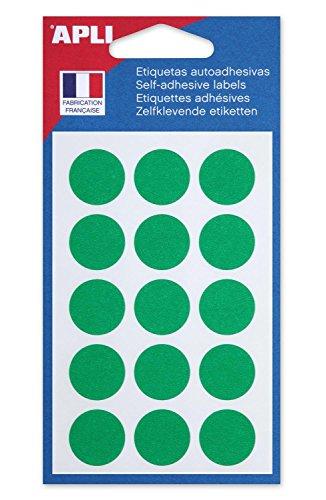 AGIPA Lot de 5 Sachets de 90 Pastilles de signalisation rondes Gommettes 19 mm Vert