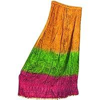 Mogul Interior Womens Flirty Skirt Multi Printed Crinkle Vintage College Boho Long Skirt