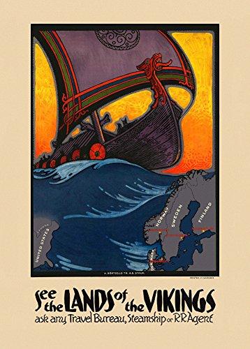 World of Art Vintage de viaje Escandinavia y ver la tierra de los vikingos 250gsm ART tarjeta brillante A3reproducción de póster