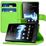 kwmobile Wallet Case Hülle für Sony Xperia Go - Cover Flip Tasche mit Kartenfach und Ständerfunktion in Grün