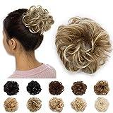 Haargummi Haarteil Dutt Haarteil Hair Extensions wie Echthaar Günstig Gewellt Gummibang Natürlich Haarverdichtung 30g Graublond & Bleichblond