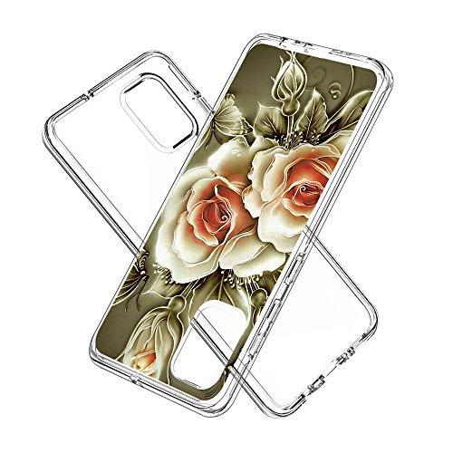 Miagon 2 in 1 Hart PC und Weich TPU Innere Durchsichtig Klar Hülle für Samsung Galaxy A71,Bunt Muster Anti Gelb Stoßfest Handyhülle Schutzhülle Bumper Case,Rose Blume