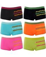 6er Pack Damen und Mächen Pantys mit Buchstaben Motiv in 6 tollen Farben