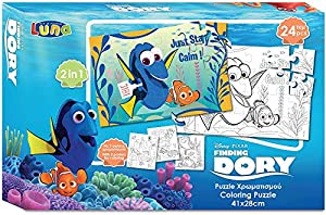 Dory 000561650 - Puzzle de Dos Lados con 3 pósteres para Colorear, Juego de 24 Piezas, Dimensiones: 41 x 28 cm, Multicolor
