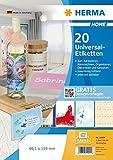 Herma 12904 Home Etiketten ablösbar o. Rückstände (99,1 x 139 mm auf DIN A4 Papier matt) 20 Aufkleber auf 5 Blatt, weiß, bedruckbar, selbstklebend