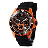 TIME100 Unisex Sportuhr Jungenuhr Mädchenuhr Silikon Chronograph Armbanduhr Quarz Schwarz Orange #W70045G.04AN
