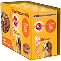Pedigree Gravy Adult Dog Food Pouch, Chicken and Vegetable, 100 g (Pack of 12)